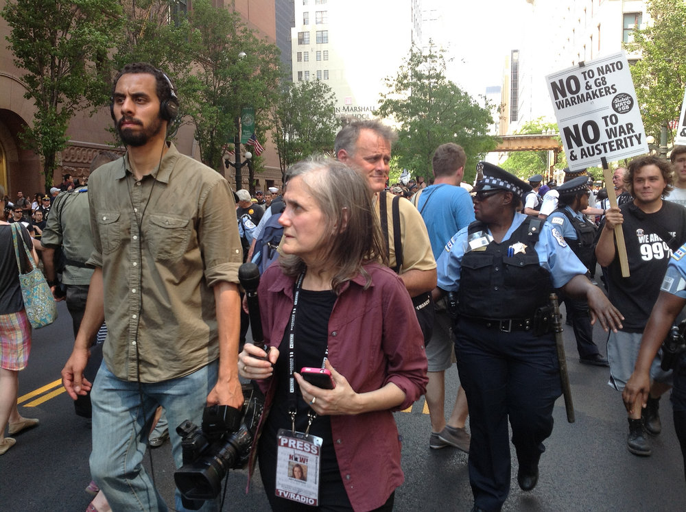 "Amy Goodman, cohost of ""Democracy Now!"" covering an Occupy Chicago protest in 2012. (Steve Rhodes/Flickr Creative Commons)"