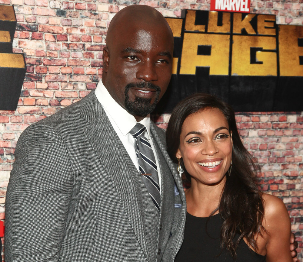 "Mike Colter, left, and Rosario Dawson, attend the Netflix's original series premiere of Marvel's ""Luke Cage"" at the AMC Magic Johnson Harlem 9 Theater on Wednesday, Sept. 28, 2016, in New York. (Andy Kropa/Invision/AP)"
