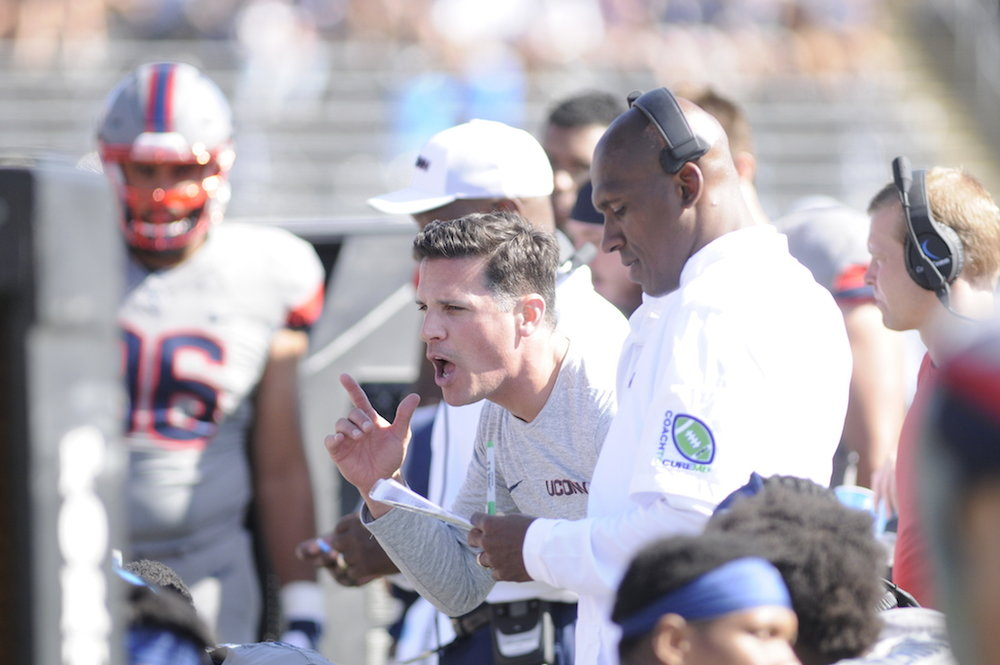 Head coach Bob Diaco in a game against Syracuse. (Jackson Haigis/The Daily Campus)