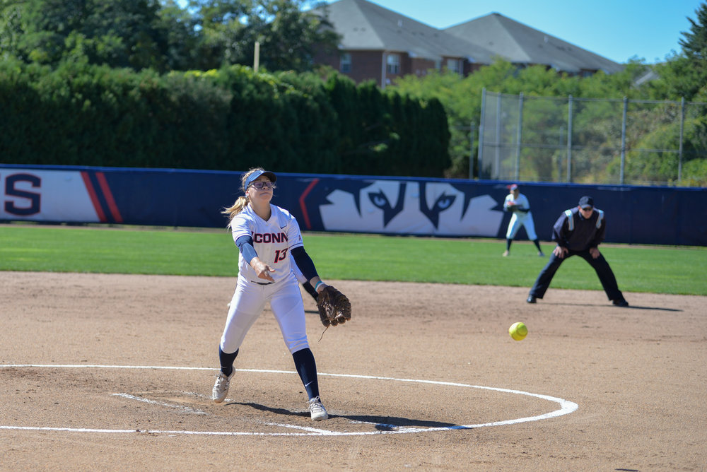 Freshman Carli Cutler pitches during UConn's 6-3 victory over UMass-Lowell on Sunday, Sept. 12, 2016. (Amar Batra/The Daily Campus)