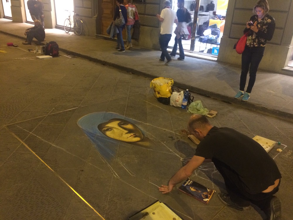 A street artist in Florence. (Sten Spinella/The Daily Campus)