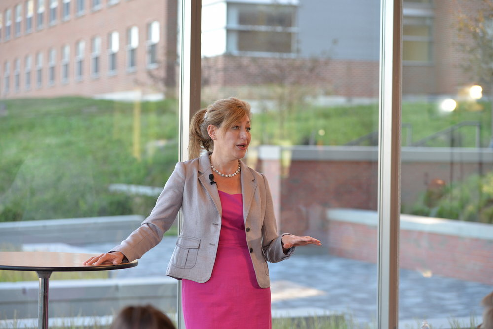 Susan Herbst held an open town hall in the Next Generation dormitory to field questions from the community on Monday, Sept. 13, 2016. (Amar Batra/The Daily Campus)