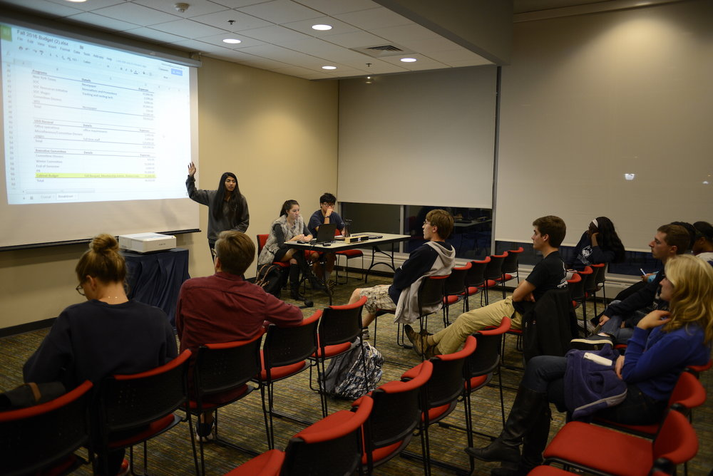 This photo of USG caucus from Sept. 28 2016 shows members discussing the budget of the current year. A vote by USG last week approved four changes to the constitution, but the results for new USG senators are being temporarily suspended in the wake of two election violations cases. (Jason Jiang/The Daily Campus)
