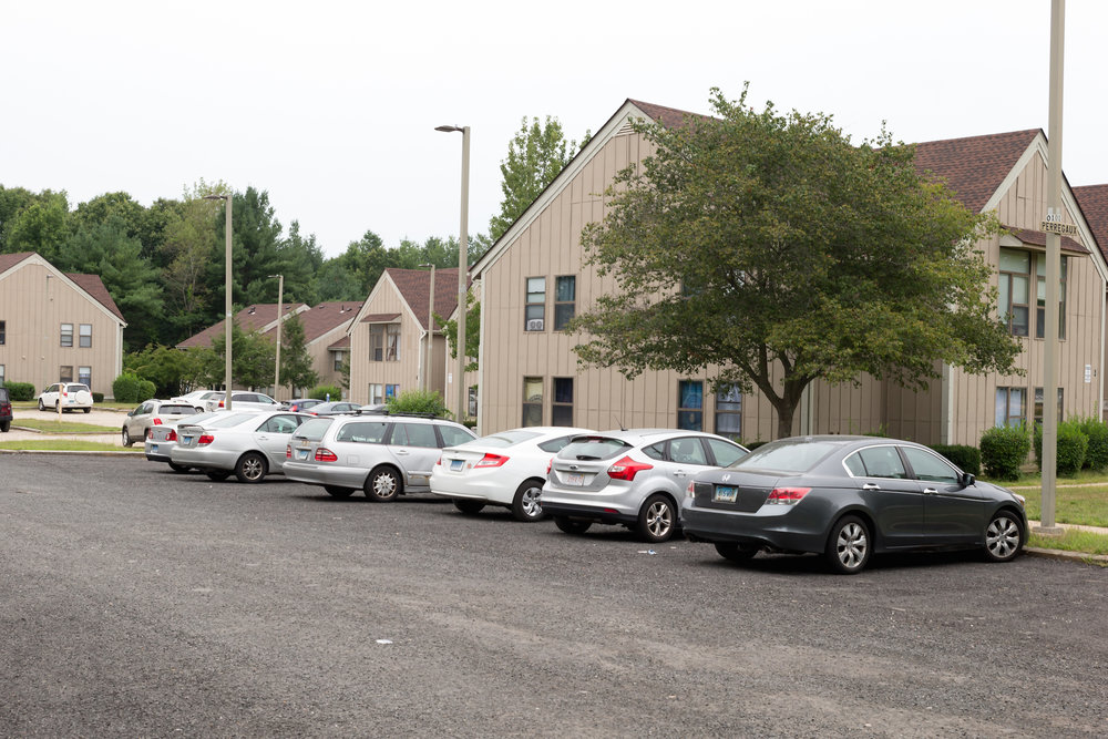 Carriage House Townhomes and Celeron Square Apartments, photographed on Aug. 21, 2016, are some of the off-campus housing options for UConn students. (Tyler Benton/The Daily Campus)
