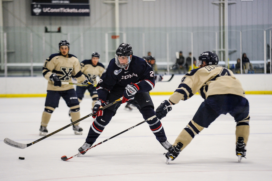 The Huskies will open the season taking on Alabama Huntsville. On Sat., Oct. 1, the UConn men's hockey team hosted an exhibition game against St. Francis Xavier. The X-Men traveled from Canada to defeat the Huskies 4-3. (Jason Jiang/The Daily Campus)