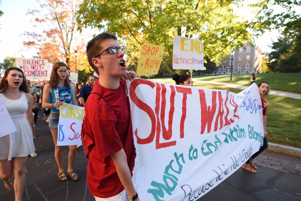 The annual UConn Slutwalk: A March to End Victim Blaming was held on Friday, Oct. 7, 2016. The Slutwalk began on Fairfield Way, circled through campus and ended back on Fairfield Way. State Representative Gregg Haddad and Connecticut Senator Mae Flexer spoke to the participants after the march about what they've done legislatively to protect sexual assault victims. (Zhelun Lang/The Daily Campus)