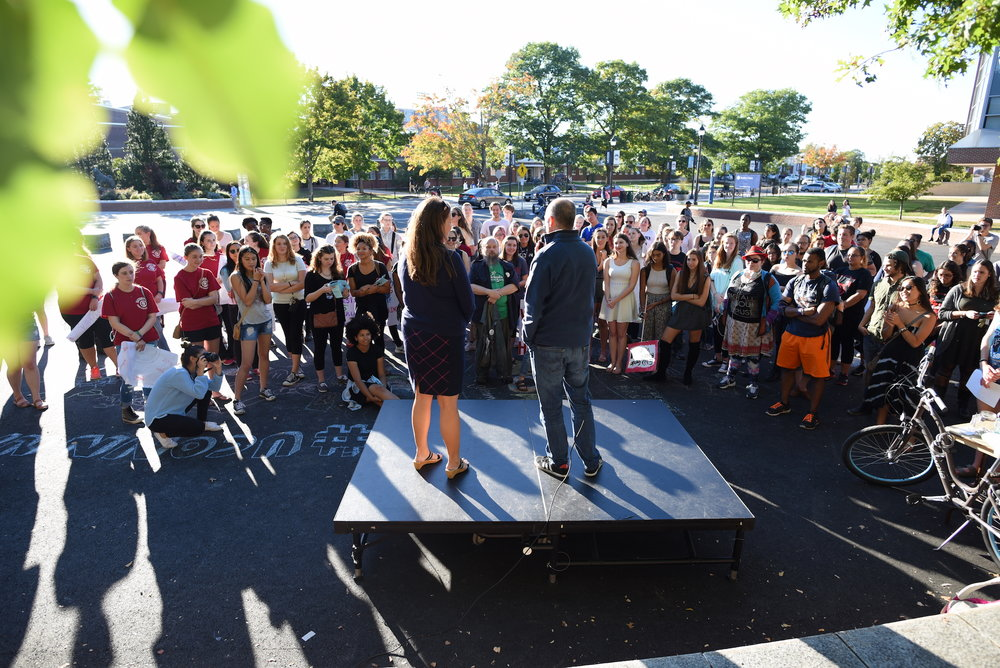 The annual UConn Slutwalk: A March to End Victim Blaming was held on Friday, Oct. 7, 2016. State Representative Gregg Haddad and Connecticut Senator Mae Flexer attended and spoke to participants after the march about what they've done legislatively to protect sexual assault victims. (Zhelun Lang/The Daily Campus)