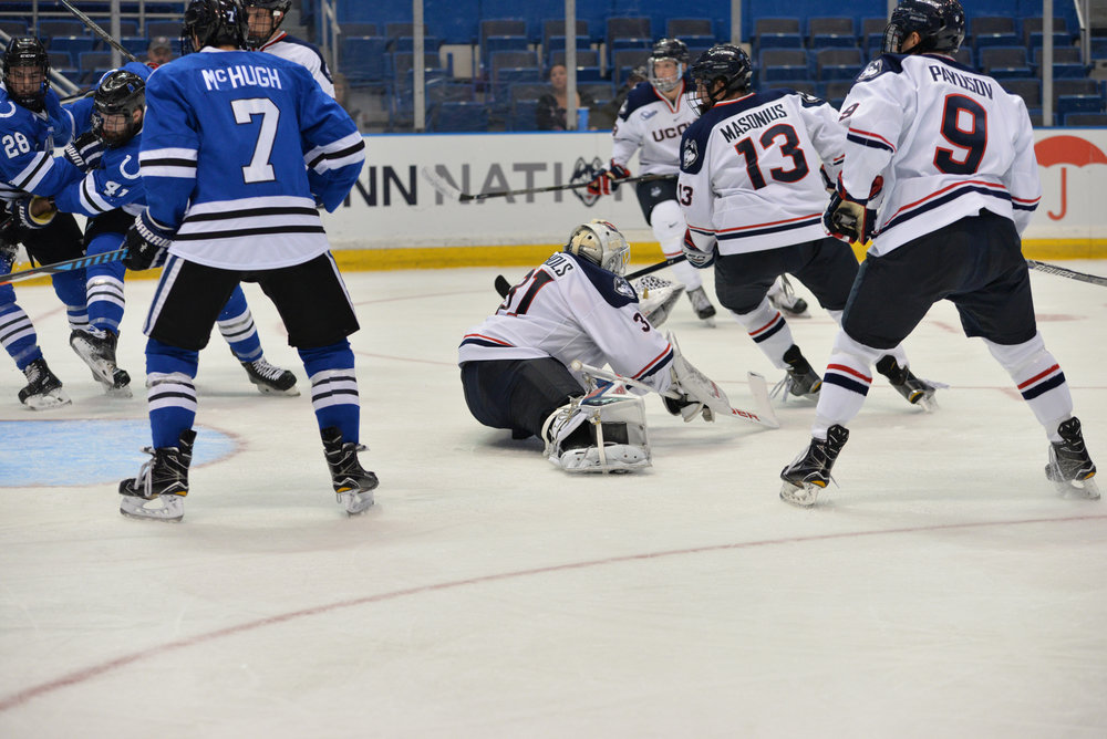 Huskies goaltender Rob Nichols (#31) comes out of his net to make a save in a game against UAH at the XL Center  on Saturday Oct. 8, 2016. Nichols faced 44 shots this weekend and saved all of them. (Amar Batra/The Daily Campus)
