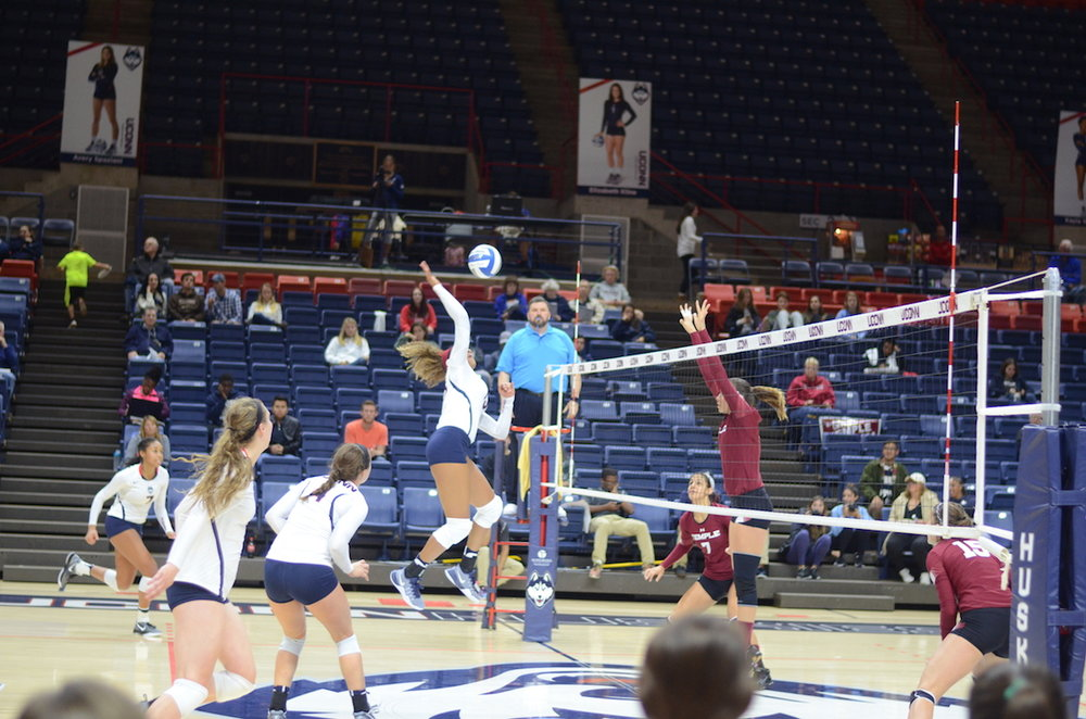 A UConn volleyball player spikes the ball during the Huskies' 3-2 loss to Temple at Gampel Pavilion on Sept. 28, 2016. (Sami Mahmud/The Daily Campus)