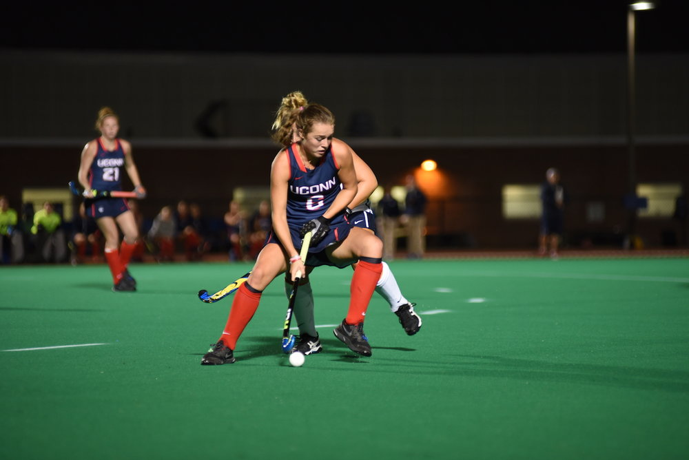 UConn's Barbara van den Hoogan (#6) controls the ball during UConn's 6-0 win over Villanova on Friday Oct. 7, 2016 at the Sherman Sports Complex. (Charlotte Lao/The Daily Campus)