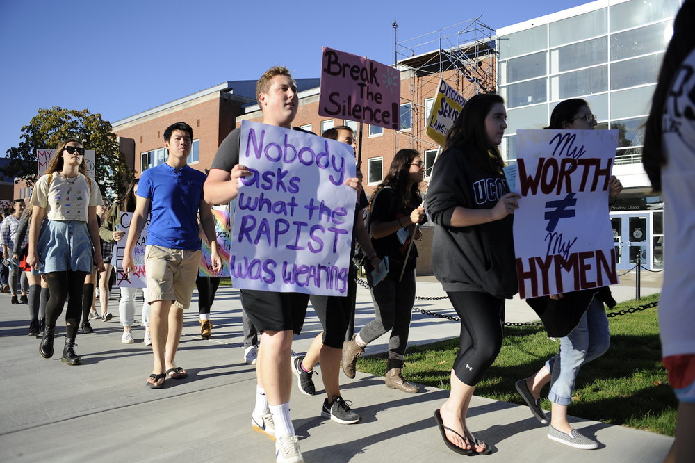 UConn students held their sixth annual Slut Walk at the Storrs campus on Friday at 4p.m. They began with a parade around the student union and ended with speeches in front of the building. (Jason Jiang/The Daily Campus)