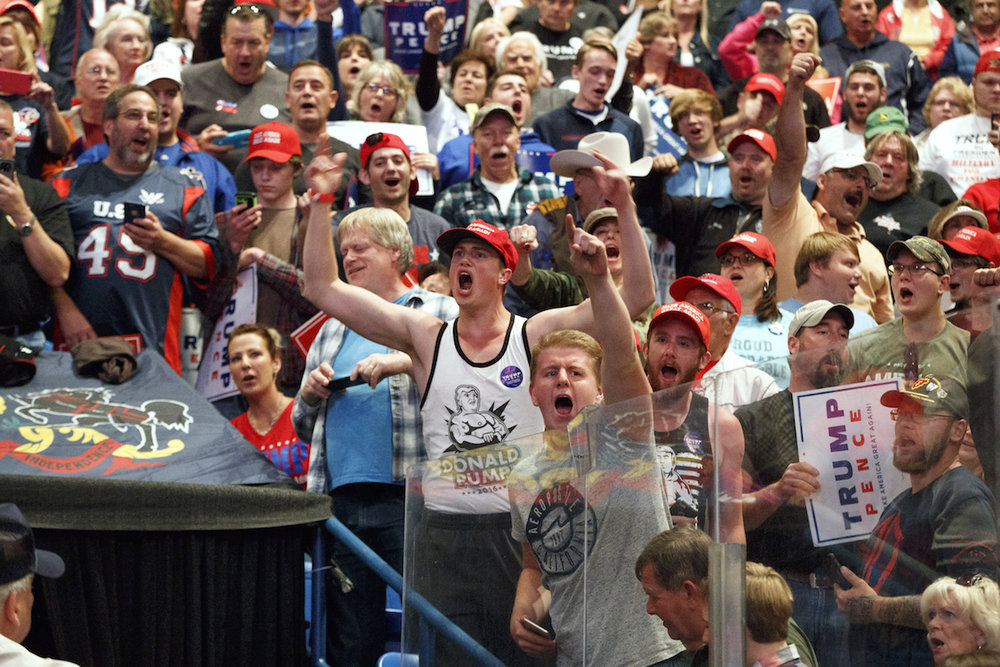Supporters cheer for Republican presidential candidate Donald Trump cheer during a rally, Monday, Oct. 10, 2016, in Wilkes-Barre, Pa. (Evan Vucci/AP)