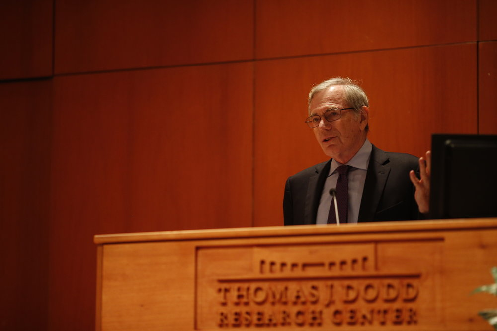 Eric Foner, DeWitt Clinton Professor of Columbia University, speaks on Tuesday about the Underground Railroad. Foner discussed the history behind the railroad in Konover Auditorium on Tuesday, Oct. 11, 2016. (Tyler Benton/The Daily Campus)
