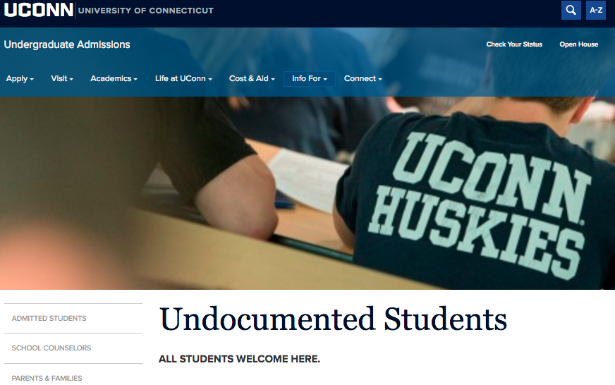 A new tab on the UConn Admissions website for undocumented students was published on Thursday, Oct. 6, 2016, marking the first time the webiste openly states that undocumented students and green card holders at UConn can receive in-state tuition, something many students have long fought for. (Screenshot/UConn Admissions)