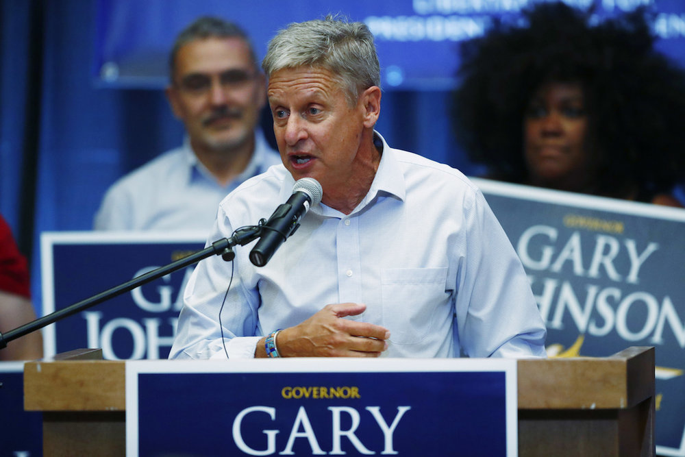 Libertarian presidential candidate Gary Johnson speaks during a rally late Monday, Oct. 3, 2016, in Parker, Colo. (David Zalubowski/AP Photo)