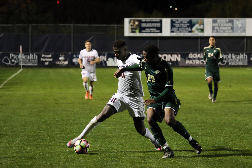 Nkosi Burgess plays defense against USF on Saturday, Oct. 15. (Ruohan Li/The Daily Campus)