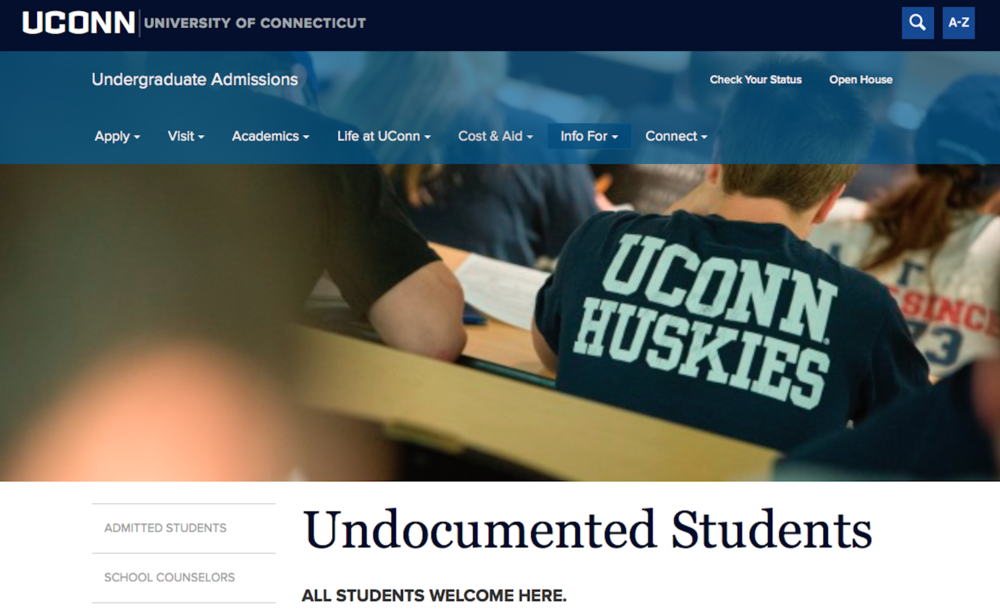 "The front page for the UConn admission program dons the slogan ""All Students Welcome Here."" (Courtesy of UConn Undergraduate Admissions)."