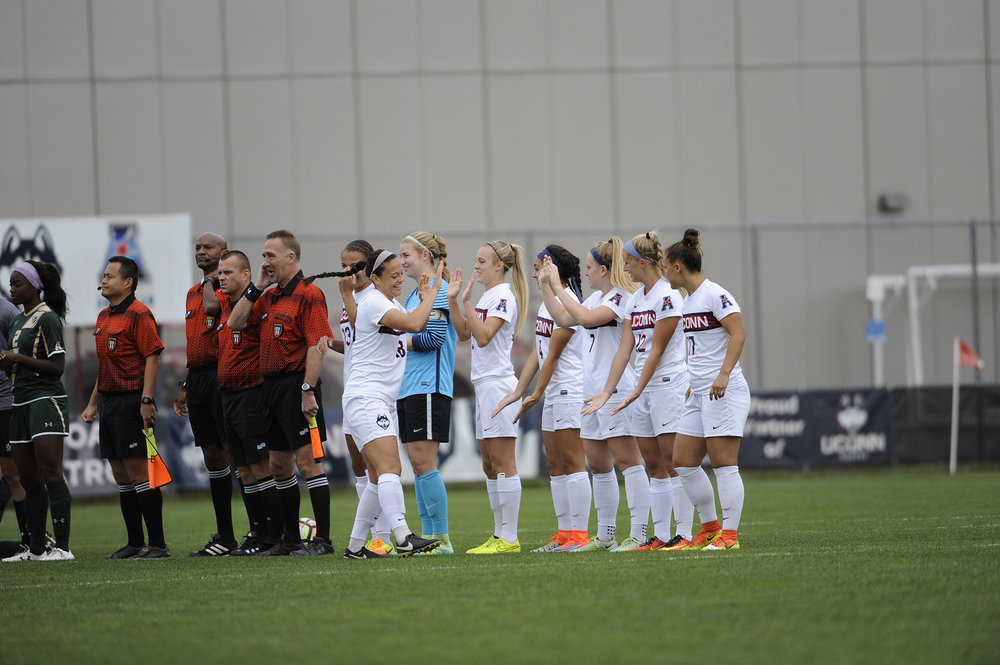 Senior's lined up before their Senior Day on Sunday, Oct. 16 against USF. (Jason Jiang/The Daily Campus)