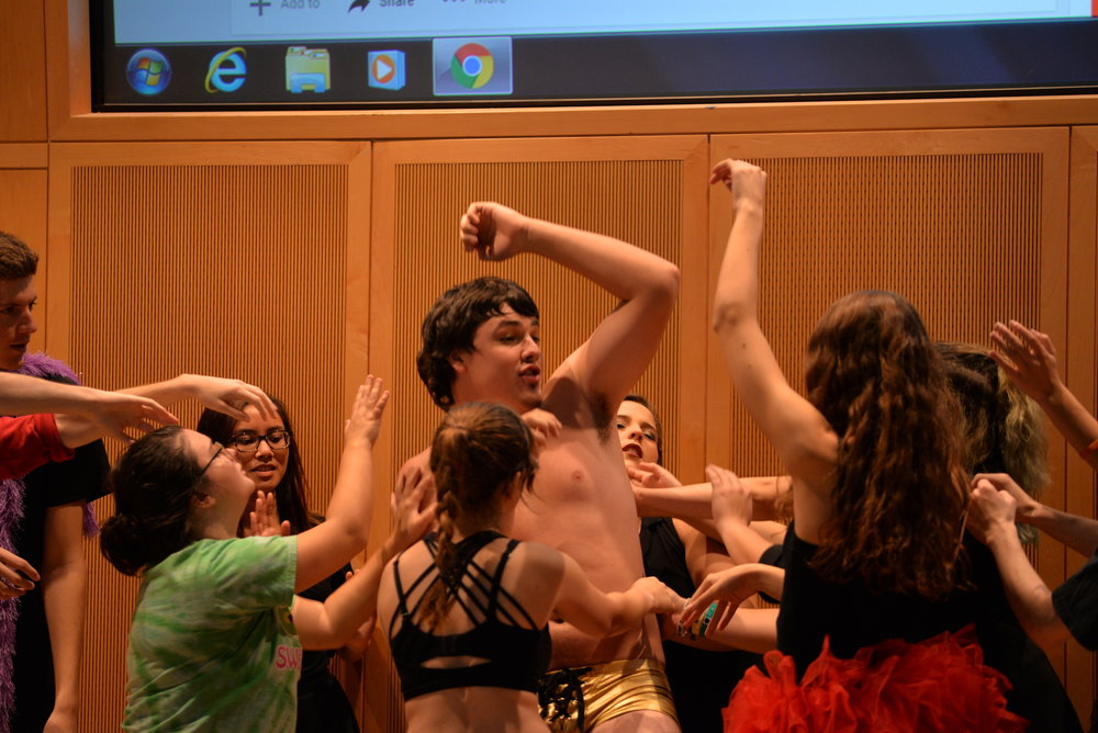 "Members of UConn's Page to Stage rehearse for their production of ""Rocky Horror Picture Show"" on Sunday, Oct. 9, 2016 in ITE C-80. The play will open on Nov. 4 and will run through Nov. 5. (Amar Batra/The Daily Campus)"