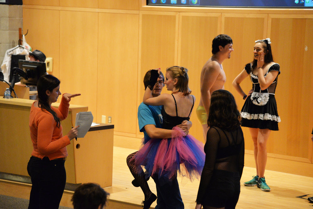"Julia Hersum, left, directing Page to Stage's production of ""Rocky Horror Picture Show."" This rehearsal was Sunday, Oct. 9 in ITE C-80. (Amar Batra/The Daily Campus)"