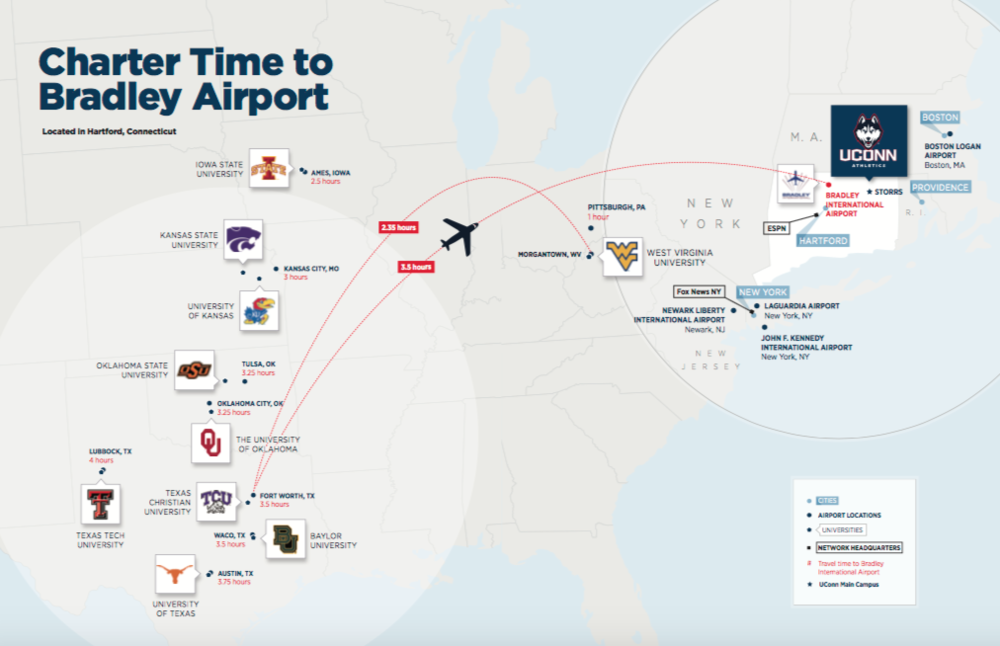 UConn included this travel map in its submission for entrance to the Big 12. The rest of the materials can be  found here . (Courtesy/UConn)
