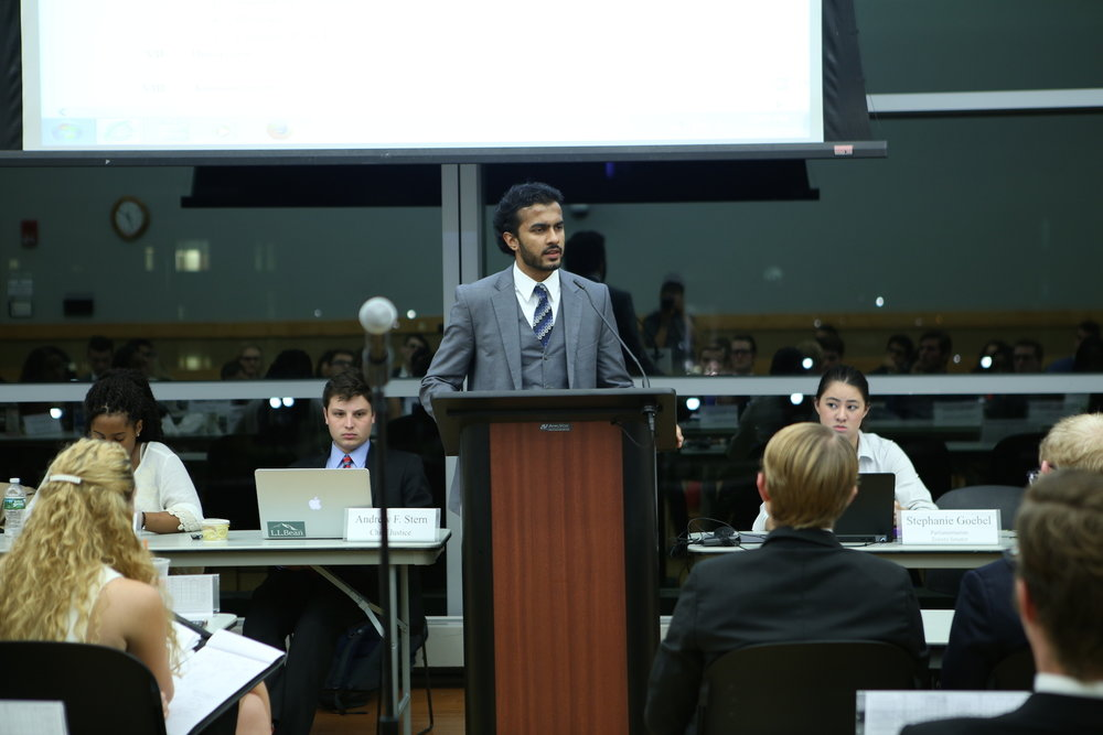USG President Daniel Byrd leads the discussion of enforcing the bill, regarding the potential for an earlier legislation deadline for senators, at the meeting on Wednesday, October 19, 2016. (Junbo Huang/The Daily Campus)