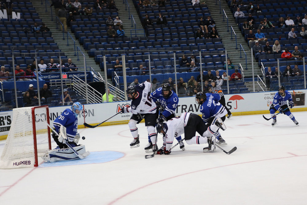 UConn defeated Alabama Huntsville in the season home opener 4-0 on Saturday, Oct. 9, 2016 at the XL Center in Hartford. The Huskies swept Alabama 10-0 with a combined score for the weekend. The Huskies fell to the Quinnipiac Bobcats 5-2. (Ruohan Li/ The Daily Campus)