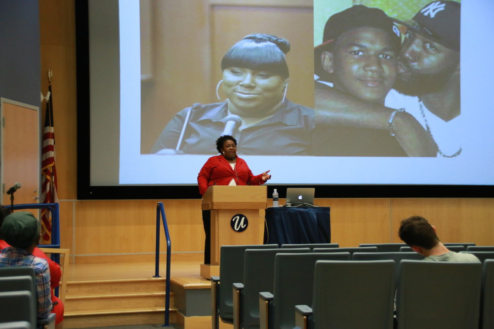 "Dr. Brittney Cooper from Rutgers University spoke on Wednesday, October 19, 2016 about ""Dis-Respectability: Toward a Ratchet Black Woman"" in the Student Union Theater at UConn. (Yuwei Zhao/The Daily Campus)"