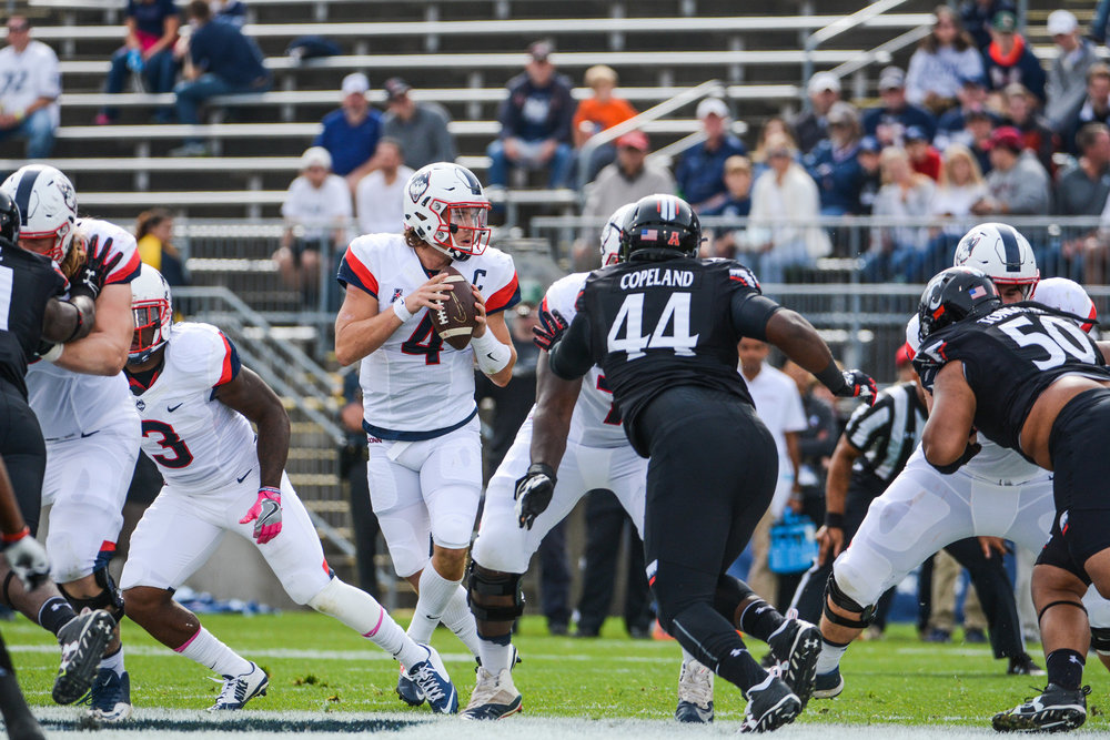 "UConn football against Cincinnati on Saturday Oct. 8,2016 at Rentschler Field.  UConn won 20-9.  This weekend they play UCF in what Bob Diaco has deemed the ""Civil Conflict."" (Jason Jiang/ The Daily Campus)"