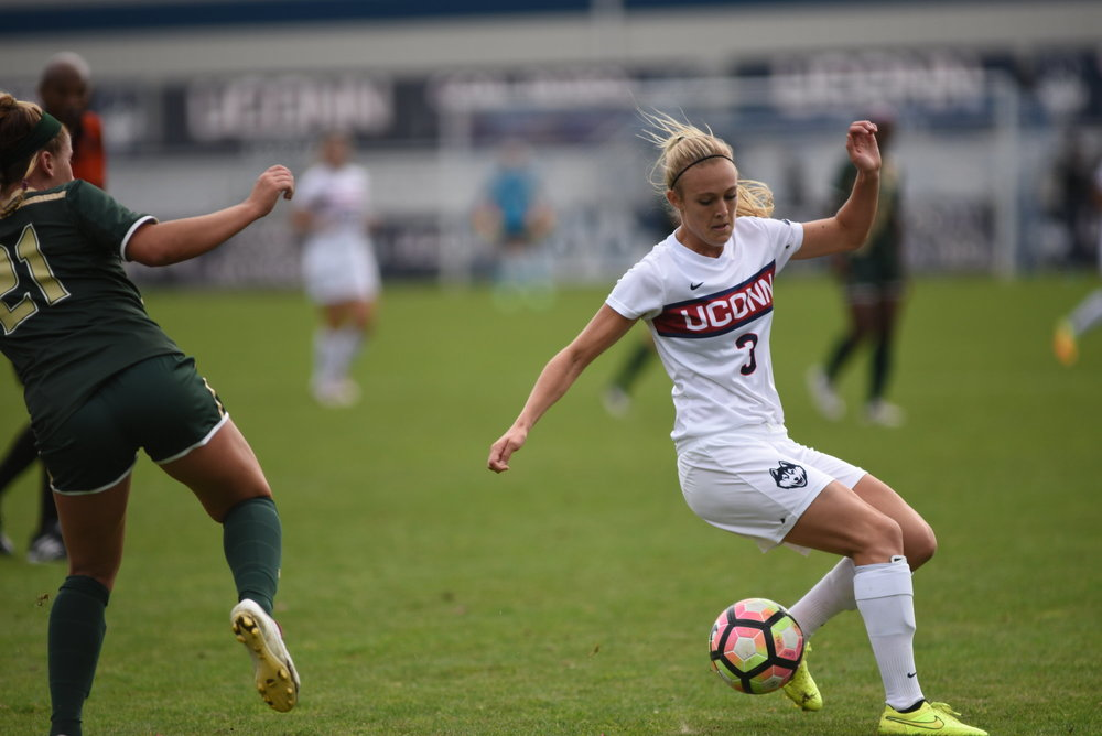The Women's Soccer team defeated USF 3-1 on their senior day. Stephanie Ribeiro scored 2 and Rachel Hill (pictured) scored 1.  They hope to continue the winning streak this weekend against Temple.  (Charlotte Lao/ The Daily Campus)