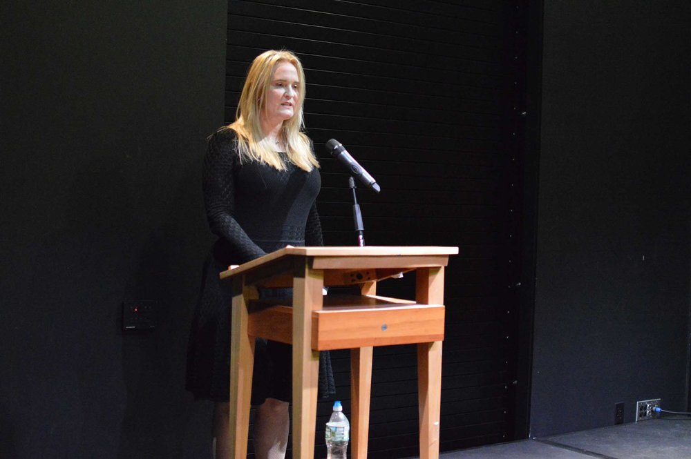 Amber Dermont, a well-known New England novelist, presents an emotional snippet of one of her books at Barnes and Nobles at Storrs Center on Thursday, Oct. 20.  (Miguel Morales/The Daily Campus)