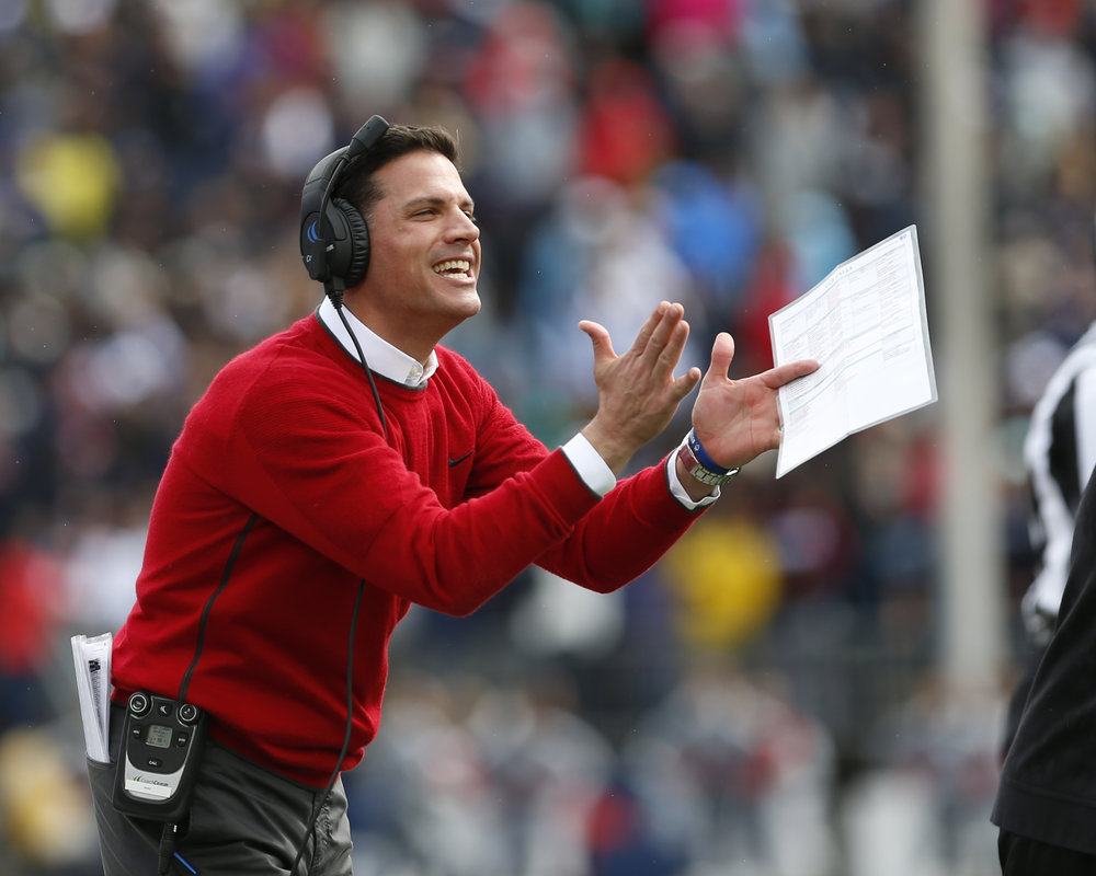 UConn Head Coach Bob Diaco shows support for players in the UConn UCF homecoming game on Saturday Oct. 22, 2016. UConn lost 16-24. (Tyler Benton/The Daily Campus)