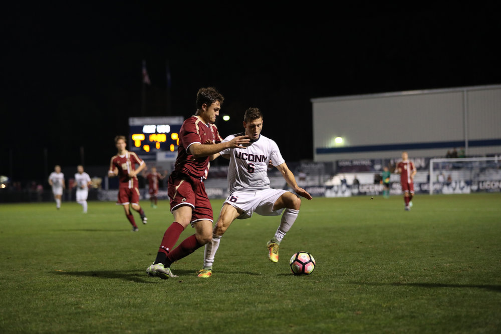 UConn Men's Soccer defeats Boston College 1-0 in overtime on Tuesday, Oct. 18, 2016 at Morrone Stadium in Storrs, CT. The winning goal was scored by Dylan Greenberg with 7 seconds left on the overtime clock. UConn took a total of 14 shots in the entirety of the game.  Four days later, UConn hit the road to take on an American Athletic Conference rival in the UCF Knights.  The game went into overtime, but UConn lost. (Owen Bonaventura/The Daily Campus)