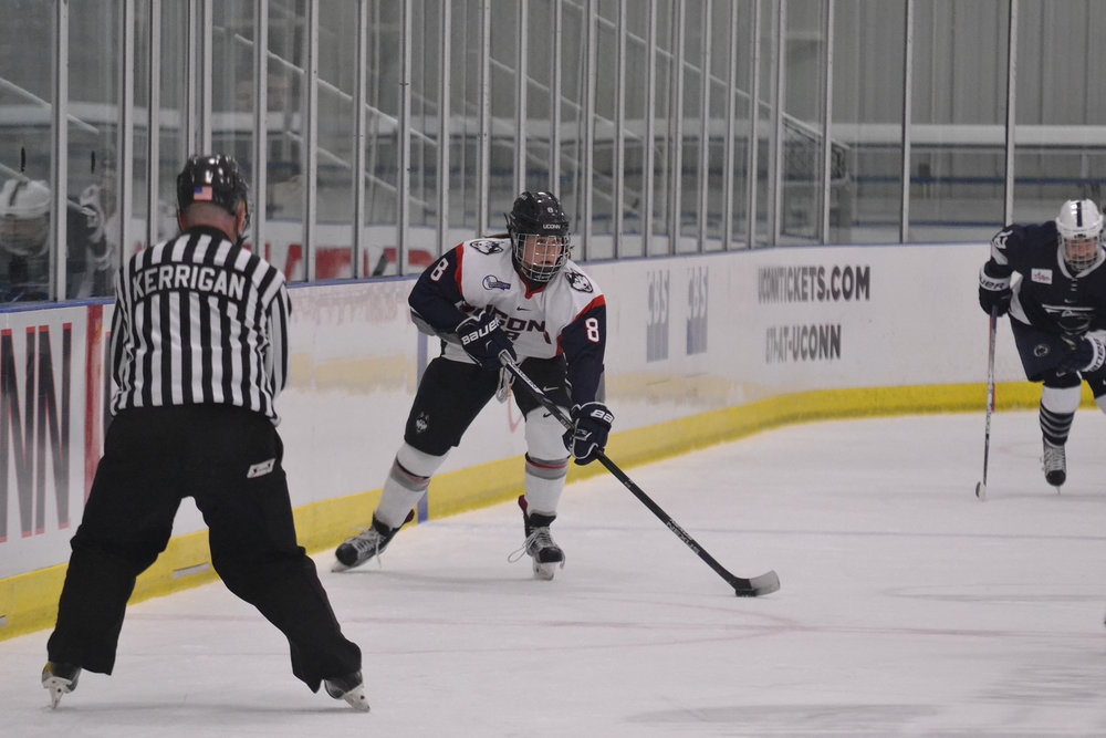 On Friday, Oct. 21, the Women's Hockey team went up against Penn State at home. After 60 minutes or regulation and an extra 5 minutes of overtime, the two teams drew at 0-0.  Sophomore Rebecca Lindblad (no. 8), scored in just 14 seconds in the second game on Saturday, Oct. 22 at Freitas.  (Jon Sammis/The Daily Campus)