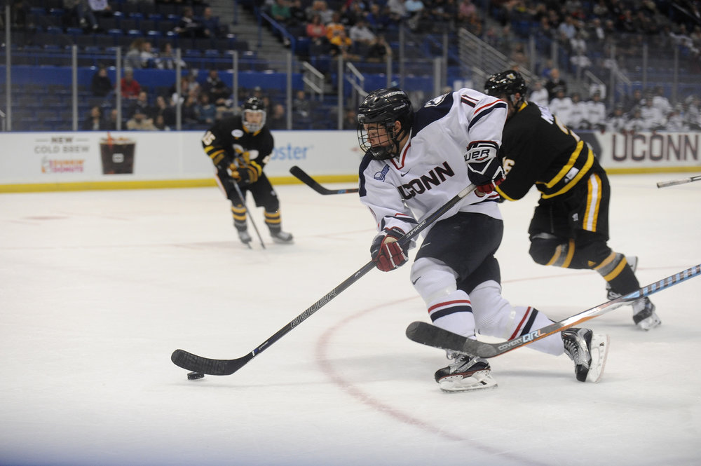 UConn Men's Hockey played AIC on Friday, Oct. 21 at the XL Center.  The teams tied 2-2.  (Jason Jiang/The Daily Campus)