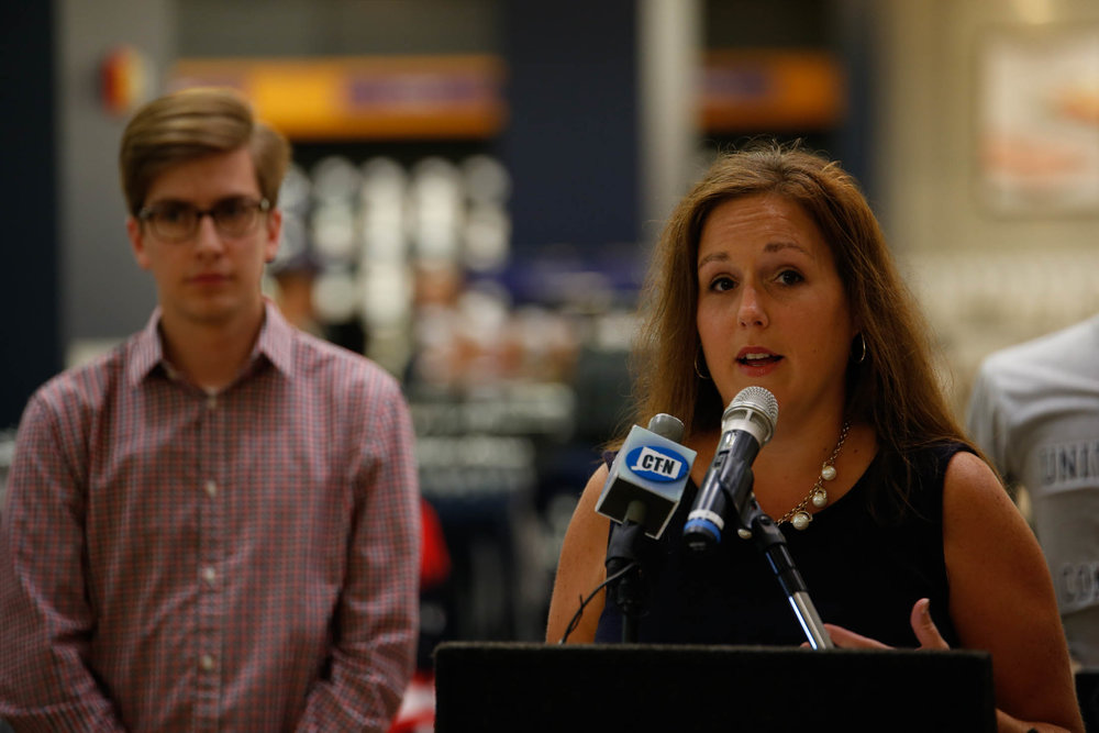 "State Senator Mae Flexer speaks during a press conference about open source textbooks at the UConn Bookstore on September 6, 2016. Flexer led the passage of an innovation economy law this year, which includes the creation of ""Innovation Places."" (Tyler Benton/The Daily Campus)"