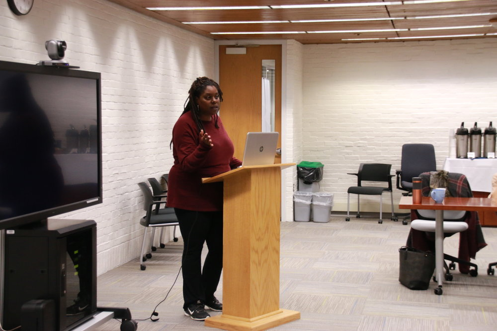 "Deva Woodly gave a talk ""The Promatism of Social Movement"" in Homer Babbidge Library on Tuesday Oct 25, 2016. (Yuwei Zhao/The Daily Campus)"