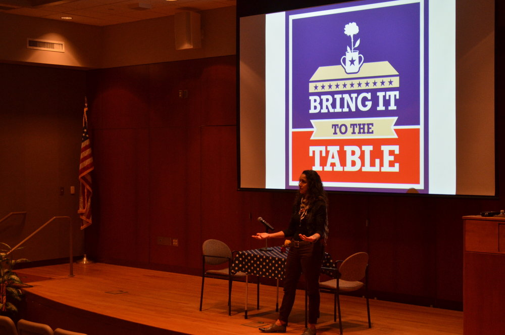 Emmy-Nominated Director Julie Winokur led an event hosted by the UConn Dialogues Program in Konover Auditorium on Tuesday, October 25. Winokur discussed different perspectives in breaking down the hyper-partisanship surrounding modern American politics. (Akshara Thejawsi/The Daily Campus)