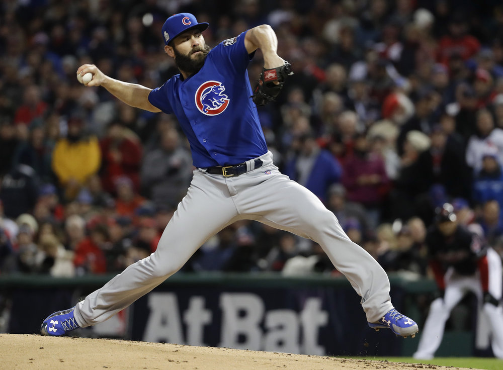 Chicago Cubs starting pitcher Jake Arrieta throws against the Cleveland Indians during the first inning of Game 2 of the Major League Baseball World Series Wednesday, Oct. 26, 2016, in Cleveland. (Matt Slocum/ AP)