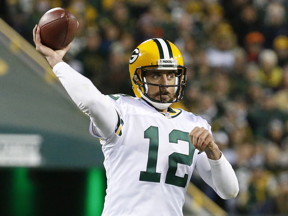 Green Bay Packers quarterback Aaron Rodgers (12) throws a pass during the first half of an NFL football game against the Chicago Bears, Thursday, Oct. 20, 2016, in Green Bay, Wis. (Mike Roemer/ AP)