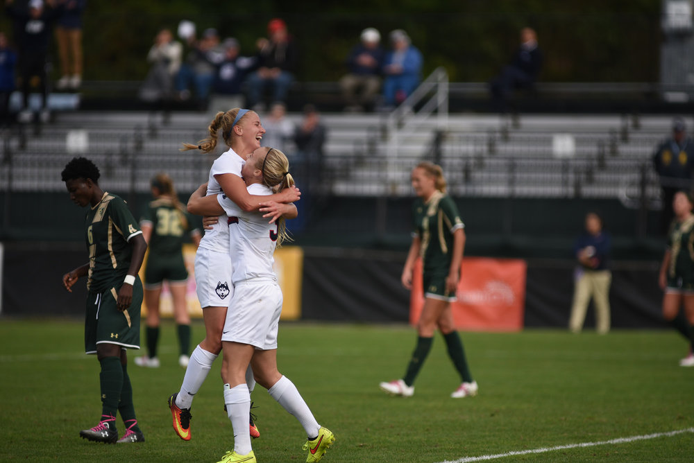 The Women's Soccer team defeated USF 3-1 on their senior day Sunday Oct. 16, 2016. Stephanie Ribeiro scored 2 and Rachel Hill scored 1. (Charlotte Lao/ The Daily Campus)