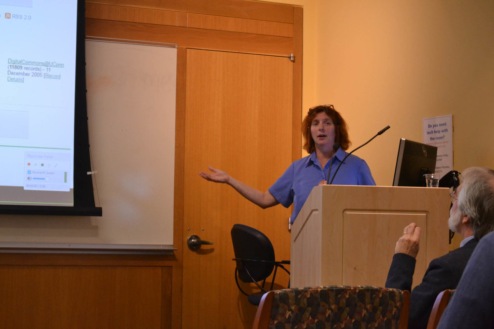 UConn librarian Carolyn Mills presents on the importance of open access during the a forum on the subject hosted by UConn's own Homer Babbidge Library as a part of Open Access Week (Jonathan Sammis/The Daily Campus)