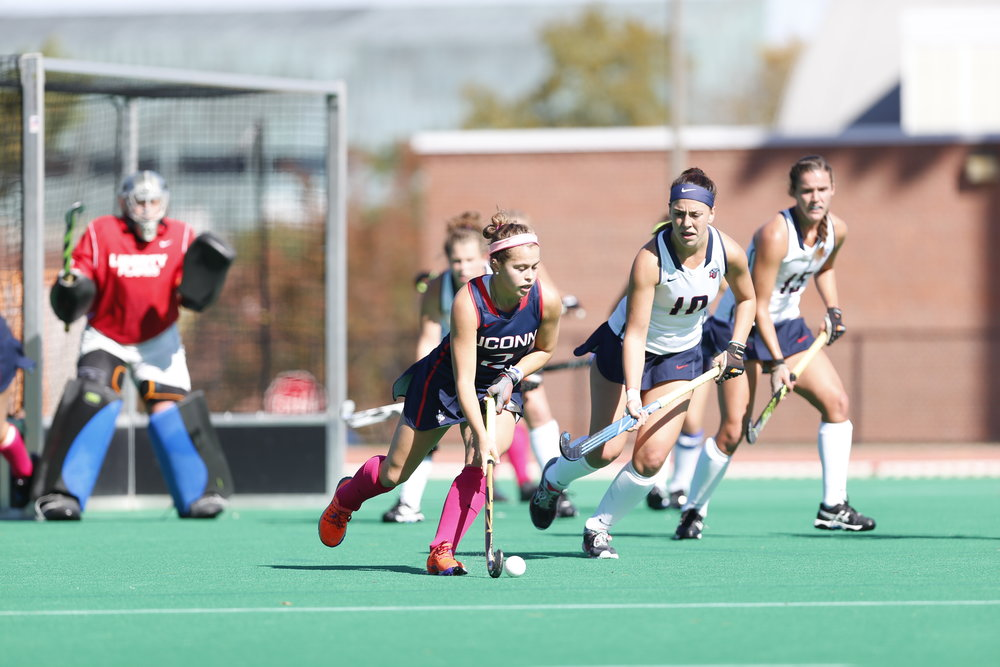 UConn senior forward Montana Fleming (#2) handles the ball in a game against Liberty on Oct. 15, 2016. The Huskies won 7-2. (Tyler Benton/The Daily Campus)