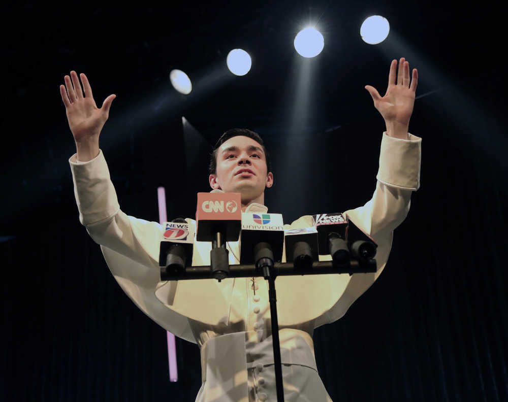"Aidan Marchetti performs as Pope Felipe in ""Nuevo California"" by Bernardo Solano and Allan Havis onstage in Connecticut Repertory Theatre's Studio Theatre Oct. 27 through Nov. 6, 2016. (Gerry Goodstein/Connecticut Repertory Theatre)"