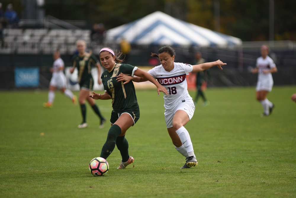 The Women's Soccer team defeated USF 3-1 on their senior day on October 14. Stephanie Ribeiro scored 2 and Rachel Hill scored 1.  The Women's Soccer team traveled to Greenville, South Carolina on Sunday to take on East Carolina. (Charlotte Lao/The Daily Campus)