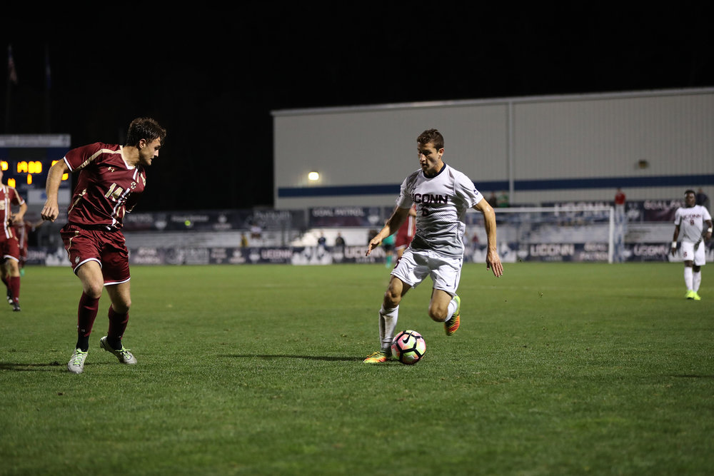 UConn Men's Soccer defeats Boston College 1-0 in overtime on Tuesday, October 18, 2016 at Morrone Stadium in Storrs, CT. The winning goal was scored by Dylan Greenberg with 7 seconds left on the overtime clock. UConn took a total of 14 shots in the entirety of the game. (Owen Bonaventura/The Daily Campus)
