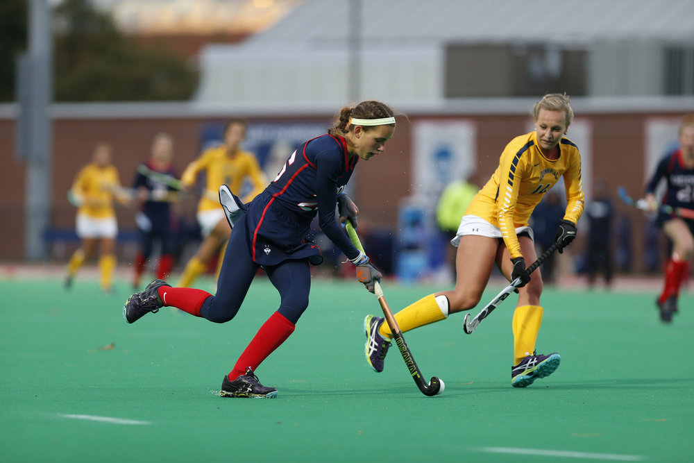 The Huskies take on QU at the Sherman Complex and pull off another win with a score of 5-1. Goals scored by Amanda Collins, Ann Middendorf, Svea Boker, and Barbara van den Hoogen (2). (Tyler Benton/The Daily Campus)