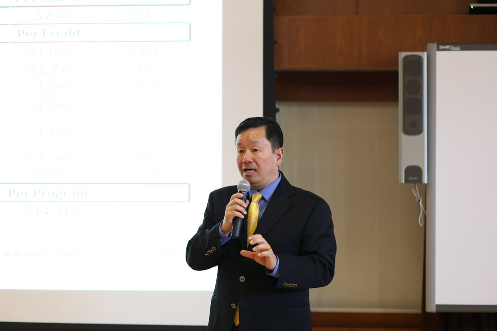 Mun Choi, Provost and Executive Vice President for Academic Affairs, speaks at UConn's town hall meeting in Augustus Storrs Hall on Tues., April 12, 2016. Choi has just been chosen to be president of Mizzou.