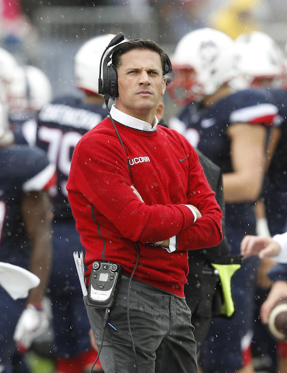 Connecticut head coach Bob Diaco stands on the sideline during the first quarter of an NCAA football game against Central Florida Saturday, Oct. 22, 2016, in East Hartford, Conn. (Stew Milne/AP Photo)