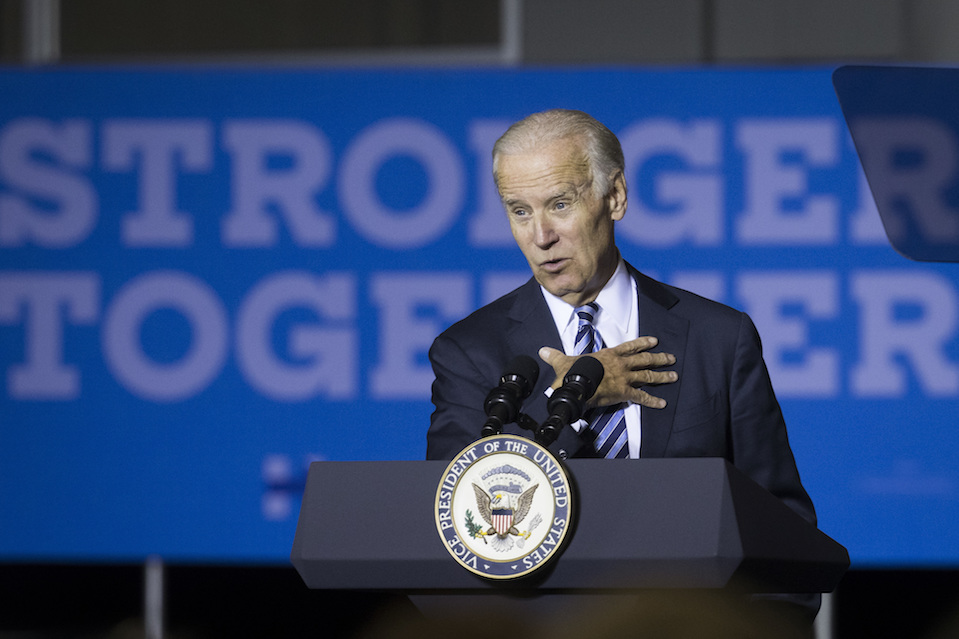 Vice President Joe Biden campaigns for Democratic presidential candidate Hillary Clinton at the Sinclair Community College Automotive Technology Building, Monday, Oct. 24, 2016, in Dayton, Ohio. (John Minchillo/AP Photo)